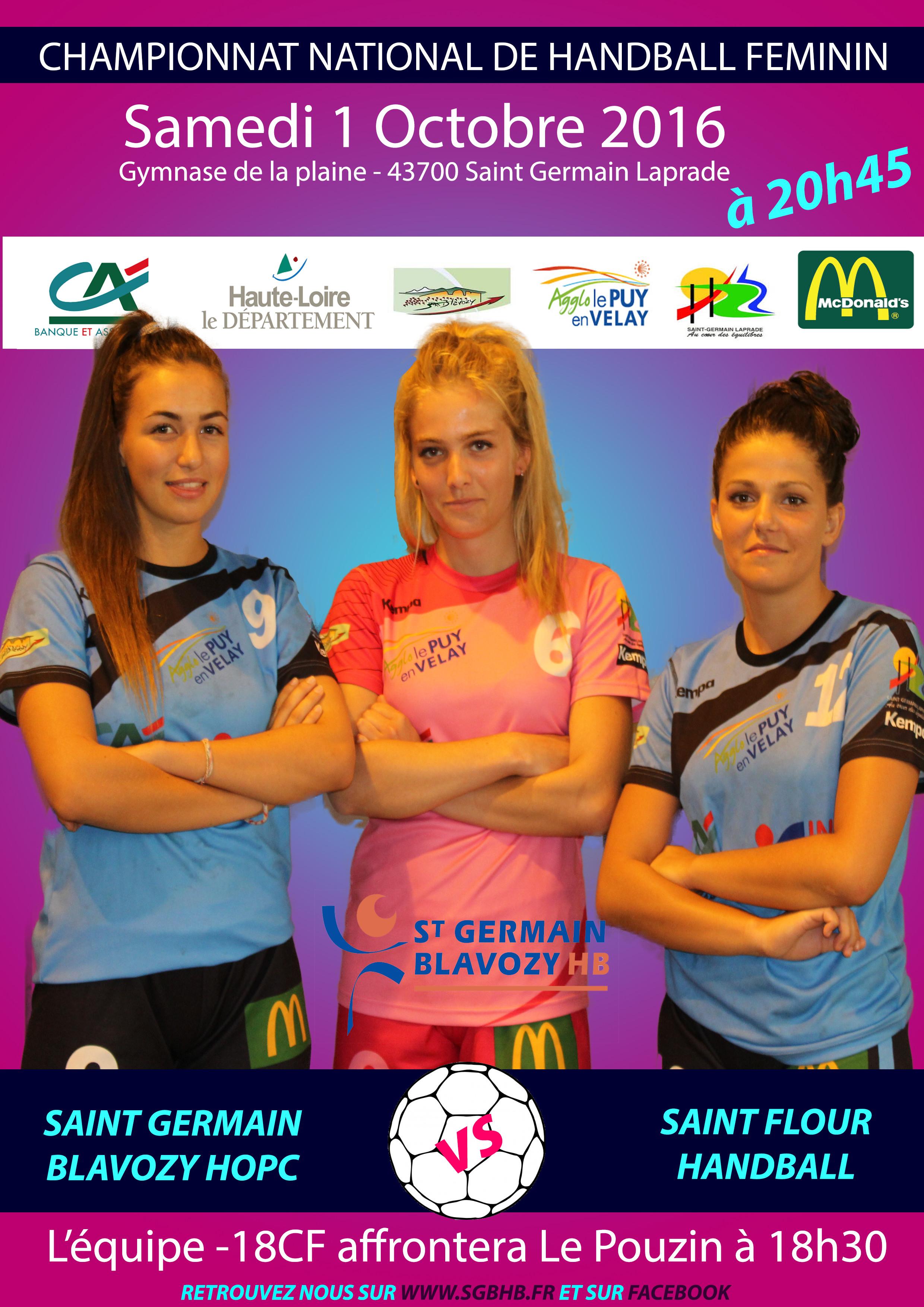 HAND BALL NATIONALE 3 FEMININE ST GERMAIN BLAVOZY – ST FLOUR 01/10/16 20H45
