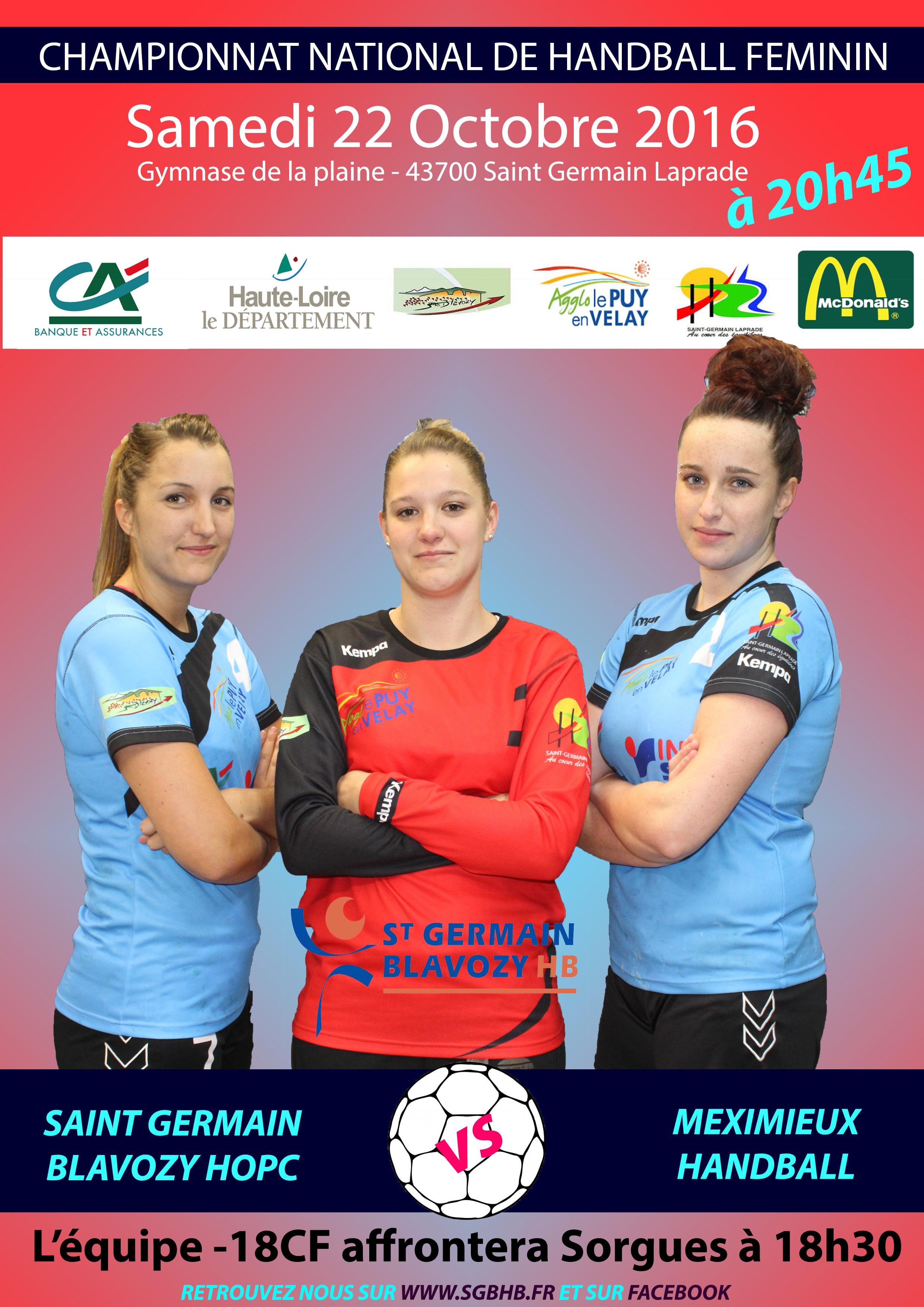 HAND BALL NATIONALE 3 FEMININE ST GERMAIN BLAVOZY HOPC-MEXIMIEUX 21/10/16 20H45