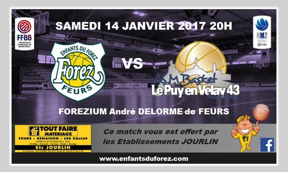 basket nationale 2 feurs-asmb le puy 14/01/16 20h en direct sur votre radio