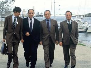 Conference Democratie 2000 a Lorient. 04.10.1992. Jean Pierre Jouyet, Jean Yves Le Drian, Jacques Delors, Francois Hollande.