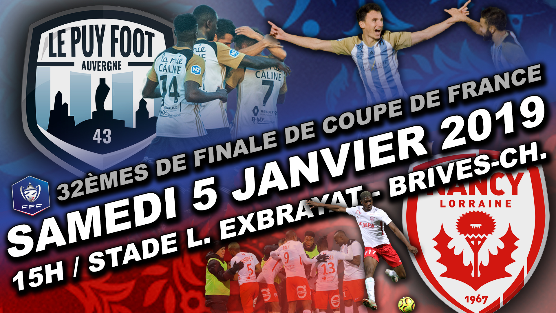 32eme de finale coupe de France le puy foot 43-nancy 15h brives charensac stade exbrayat 050119 en direct