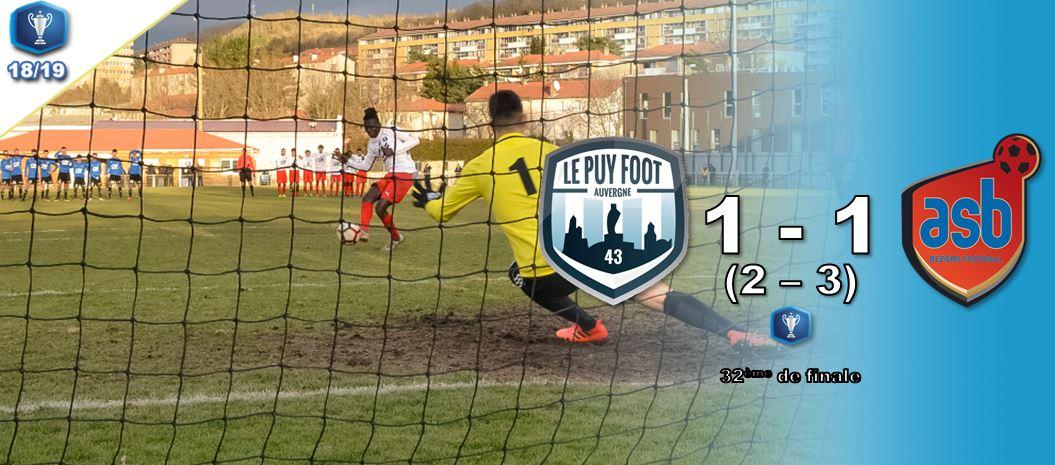 coupe gambardella le puy foot 43 1-1 Béziers  tab 2-3 réac après match