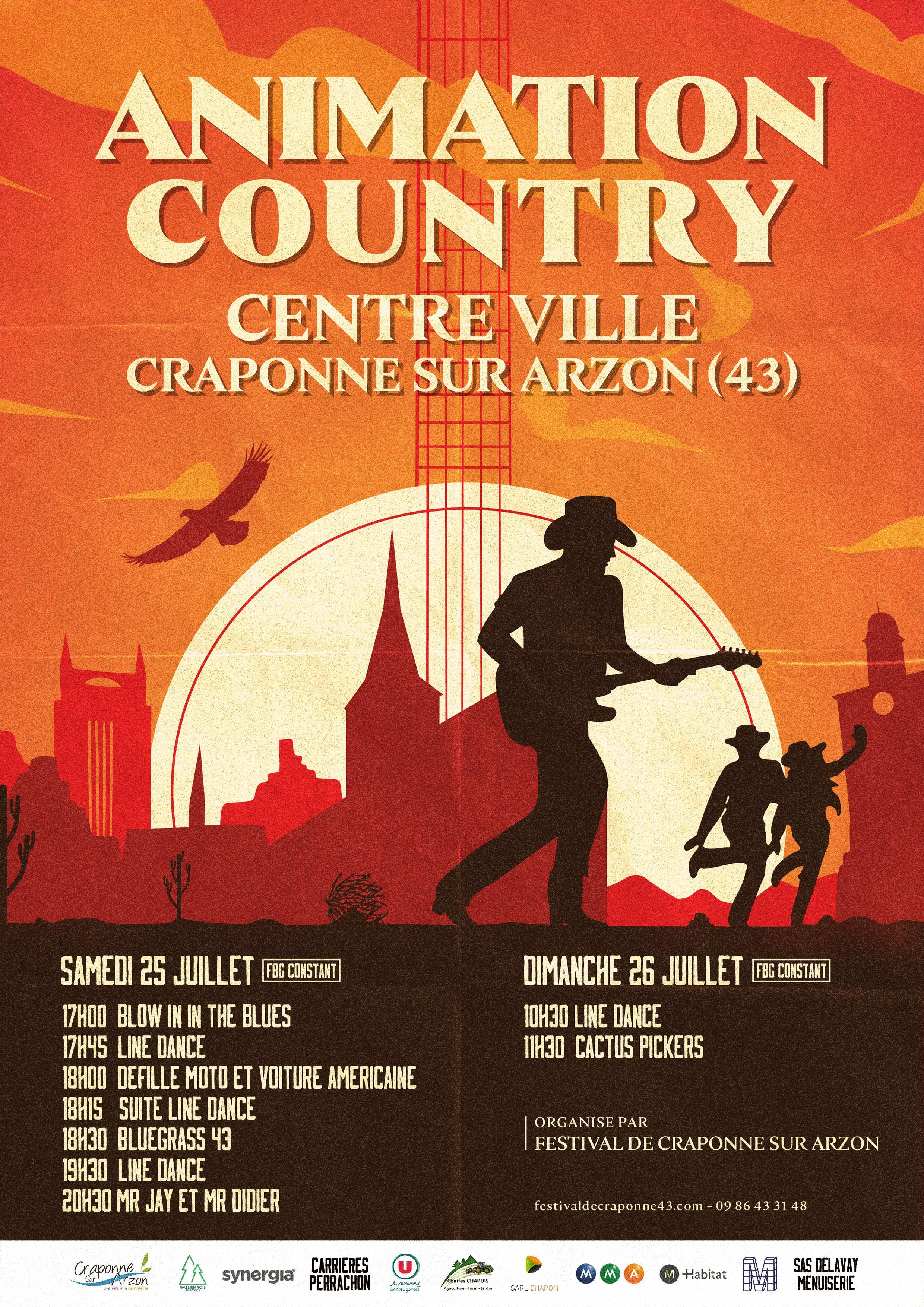 animation country centre ville craponne samedi 25/07/20 a partir de 17hau 26/07/20 a partir de 10h30